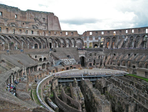 Inside the Coliseum in Rome Italy