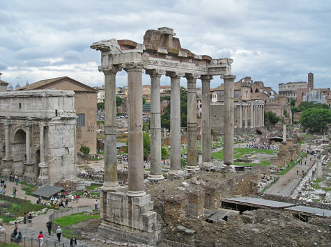 Temple of Saturn in Ancient Rome, Italy